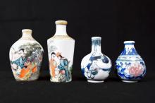LOT (4) CHINESE DECORATED PORCELAIN SNUFF BOTTLES INCLUDING EROTIC. HEIGHT 1 1/2-3 1/2