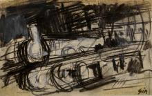 ITALIAN SCHOOL (20TH CENTURY), CONTE CRAYON ON PAPER, UNTITLED COMPOSITION, SIGNED