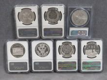 LOT (7) ASSORTED COMMEMORATIVE SILVER DOLLAR COINS INCLUDING 2006-P BEN FRANKLIN (PF-69 ULTRA CAMEO); 2008-P BALD EAGLE (PF-69 ULTRA CAMEO); 2009-P LINCOLN (PF-69 ULTRA CAMEO); 2009-P LOUIS BRAILLE (PF-69 ULTRA CAMEO); 2010-P BOY SCOUT (MS-70); 2010-W DISABLED VETERANS (PF-70 ULTRA CAMEO); 2011-S U.S. ARMY (MS-69)