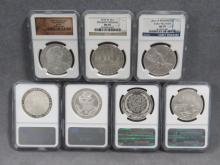 LOT (7) ASSORTED COMMEMORATIVE SILVER DOLLAR COINS INCLUDING 2006-P BEN FRANKLIN (PE-69 ULTRA CAMEO); 2008-P BALD EAGLE (MS-69); (2) 2009-P LINCOLN (MS-70 & PF-69 ULTRA CAMEO); 2009-P LOUIS BRAILLE (MS-70); 2010-W DISABLED VETERANS (MS-70); 2012-W INFANTRY (MS-70)
