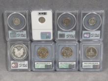 LOT (8) ASSORTED US HIGH GRADE COINS INCLUDING 2001-W AMERICAN EAGLE DOLLAR, PCGS (PR 69 DCAM); 1976-S KENNEDY HALF, ICG (PR 69 DCAM); (2) 1986-D LIBERTY HALVES, ICG (MS70); (3) 1984-S; 1992-S; 1993-S ROOSEVELT DIMES, PCGS (DCAM); 1962 ROOSEVELT DIME, NGC (PR 69)