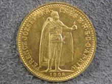 1908 HUNGARIAN GOLD 10 KORONA COIN (AU)