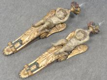 PAIR CARVED, GILT, POLYCHROME FOLIATE AND ANGELIC SCONCES, 18/19TH CENTURY (ELECTRIFIED). HEIGHT 27