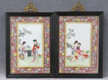 PAIR CHINESE FAMILLE ROSE DECORATED PORCELAIN PLAQUES. FRAMED 11 X 8