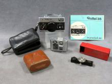 LOT INCLUDING VINTAGE ROLLEI 35 COMPACT CAMERA, CASE AND INSTRUCTIONS; CONCAVA