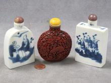 LOT (3) CHINESE SNUFF BOTTLES INCLUDING (2) DECORATED PORCELAIN, HEIGHT 3 7/8