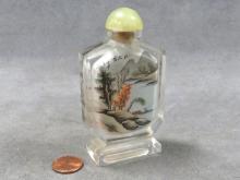 CHINESE INTERNALLY DECORATED PEKING GLASS SNUFF BOTTLE. HEIGHT 3 5/8