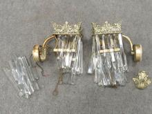 PAIR SILVERED BRASS GAS LIGHT WALL SCONCES (ELECTRIFIED). HEIGHT 8
