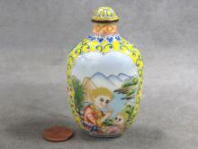 CHINESE PEKING ENAMEL SNUFF BOTTLE WITH MOTHER/CHILD, FOR THE WESTERN MARKET, SIGNED. HEIGHT 3 1/4