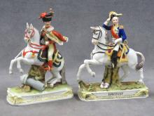 LOT (2) FRENCH DECORATED PORCELAIN FIGURES ON HORSEBACK INCLUDING DAVOUST AND LE PRINCE EUGENE, 19TH CENTURY. HEIGHT 5 1/2