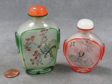 LOT (2) CHINESE INTERNALLY DECORATED CARVED PEKING GLASS SNUFF BOTTLES. HEIGHT 3-3 1/2