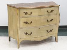 FRENCH STYLE CARVED AND PAINTED BOMBAY CHEST OF DRAWERS. HEIGHT 34
