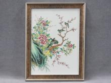 CHINESE FAMILLE ROSE DECORATED PORCELAIN PLAQUE. 12 X 9