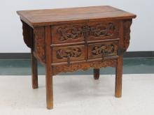 CHINESE CARVED ELM 3-DRAWER CHEST WITH IRON PULLS, BEARS WAX EXPORT SEAL, CHING. HEIGHT 33