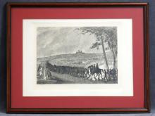 EDWIN FORBES (AMERICAN 1839-1895), ENGRAVING, CIVIL WAR ENCAMPMENT WITH BUFFALO SOLDIERS, C.1876. SIGHT 15 X 21