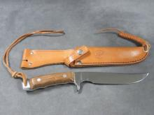 MUNDIAL FORGED STEEL KNIFE, BRAZIL WITH LEATHER SHEATH. LENGTH 11