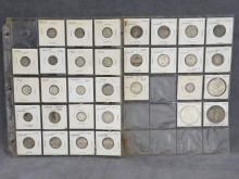 LOT (32) ASSORTED CANADA AND MEXICO SILVER COINS