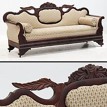 EMPIRE CARVED MAHOGANY SOFA, 19TH CENTURY