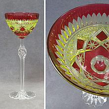 BOHEMIAN RUBY CUT TO YELLOW CRYSTAL GOBLET