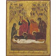 RUSSIAN ICON, EGG TEMPERA ON PANEL, THE ENTOMBMENT