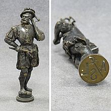VICTORIAN BRONZE WAX SEAL, FIGURE OF AN ARCHER