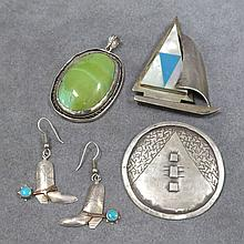 LOT (4) STERLING PENDANT, PINS & EARRINGS