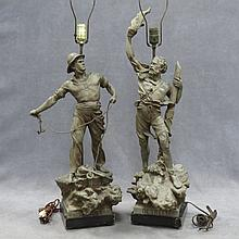 PAIR VINTAGE PATINATED METAL FIGURES, DETRESSE
