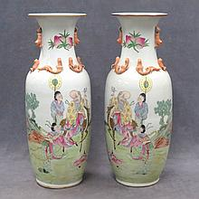 PAIR CHINESE FAMILLE ROSE DECORATED PORCELAIN VASE