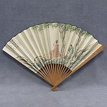 CHINESE HAND PAINTED BAMBOO FAN
