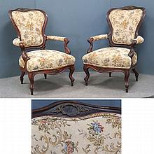 PAIR FRENCH STYLE VICTORIAN CARVED WALNUT ARMCHAIR