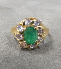 14K YELLOW GOLD EMERALD & ZOISITE RING