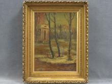 LEONID TURZHANSKY (RUSSIAN 1874-1947), OIL ON CARDSTOCK, LANDSCAPE WITH TEMPLE, SIGNED. 14 X 10