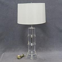 ATTRIBUTED TO CARL SPRINGER, LUCITE TABLE LAMP