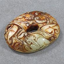 CHINESE CARVED JADE TOGGLE
