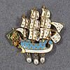 750 YELLOW GOLD ENAMELED VIKING SHIP BROOCH