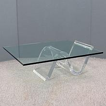 DESIGNER MODERN LUCITE AND PLATE GLASS TABLE