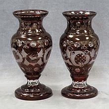 PAIR BOHEMIAN RUBY ETCHED/CUT-TO-CLEAR VASES