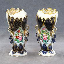 PAIR OLD PARIS GILT DECORATED FLAIRED VASES