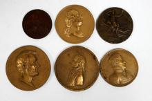 LOT (6) ASSORTED BRONZE MEDALLIONS/MEDALS INCLUDING GEORGE WASHINGTON, THOMAS JEFFERSON, ANDREW JACKSON, ABE LINCOLN, AMERICAN INSTITUTE, 1876 & 1900 EXPOSITION