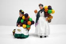 LOT (2) ROYAL DOULTON DECORATED PORCELAIN FIGURES,