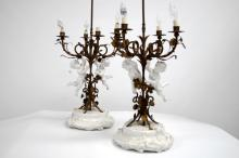 PAIR ITALIAN PORCELAIN AND GILT METAL FIGURAL TABLE LAMPS. HEIGHT 42