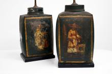 PAIR CHINESE DECORATED TOLEWARE TEA CADDY'S, MOUNTED AS LAMPS, 19TH CENTURY. HEIGHT 27