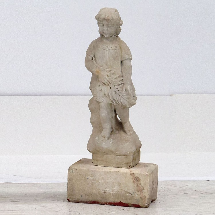 VICTORIAN CARVED MARBLE FIGURE OF A CHILD