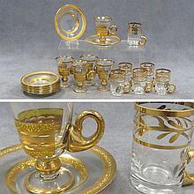 (2) SETS BOHEMIAN GILT DECORATED DEMI-TASSE CUPS