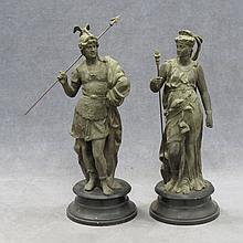 PAIR VINTAGE SPELTER CLASSICAL FIGURES