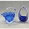 LOT (2) BOHEMIAN COBALT-TO-CLEAR BASKETS