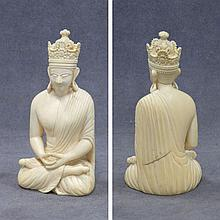 INDIAN CARVED IVORY SEATED FIGURE
