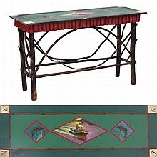 ADIRONDACK HAND PAINTED HICKORY SOFA/CONSOLE TABLE