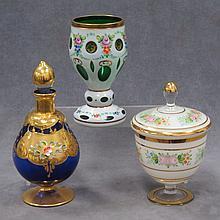 LOT (3) BOHEMIAN CASED CUT-TO-GREEN EMERALD GLASS