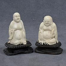 LOT OF (2) CHINESE CARVED IVORY BUDDHA FIGURES